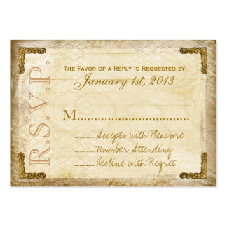 Vintage and Gold RSVP Cards (Chunky Business Card)