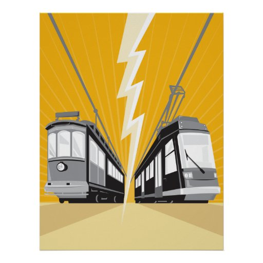 Vintage and Modern Streetcar Tram Train Poster
