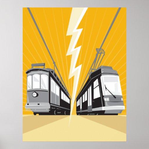 Vintage and Modern Streetcar Tram Train Print