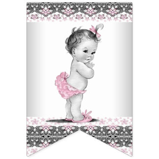 Vintage and Pink Grey Girl Baby Shower Bunting