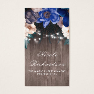Vintage and Rustic Navy and Royal Blue Floral Boho Business Card