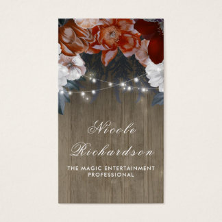 Vintage and Rustic Plum and Burgundy Floral Boho Business Card
