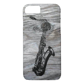 Vintage and Rustic Saxophone On old Wood iPhone 8/7 Case