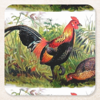 Vintage Andrew Neale Red Jungle Fowl Square Paper Coaster
