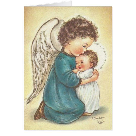 Vintage Angel And Baby Jesus Christmas Card