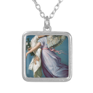 Vintage Angel And Child Illustration Silver Plated Necklace