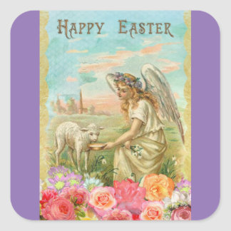 Vintage Angel And Lamb Square Sticker