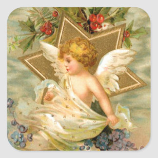Vintage angel and star christmas holiday sticker