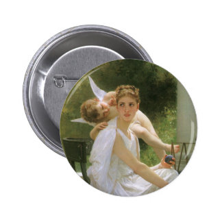 Vintage Angel Art, Work Interrupted by Bouguereau 6 Cm Round Badge