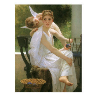 Vintage Angel Art, Work Interrupted by Bouguereau Postcard