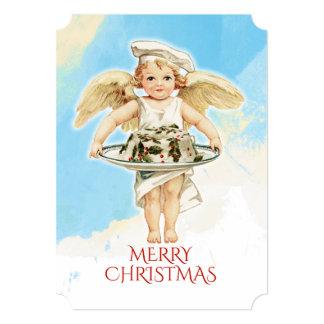 Vintage angel chef holly Christmas cake Card