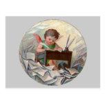 Vintage Angel Child Writing at Desk Postcard