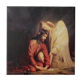 Vintage Angel Comforting Jesus Small Square Tile