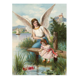 Vintage angel guardian angel with girls postcard