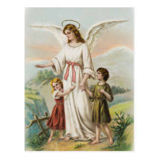 Vintage angel guardian angels and two children postcard