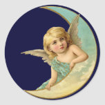 Vintage Angel in Moon Round Stickers