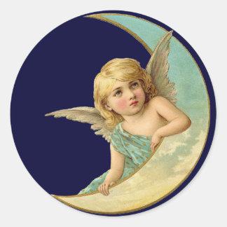 Vintage Angel in Moon Round Sticker