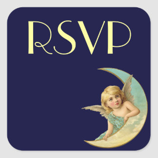 Vintage Angel in Moon Square Stickers