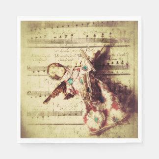 Vintage angel ornament on music disposable napkin