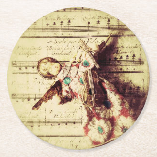 Vintage angel ornament on music round paper coaster