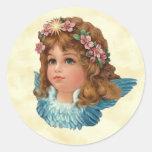 Vintage Angel Pink Flowers Blue Wings Stickers