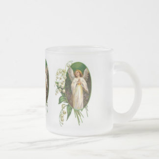 Vintage Angel Praying Frosted Glass Coffee Mug