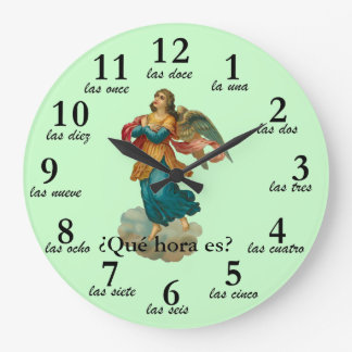 Vintage Angel Spanish Time Numbers Clock