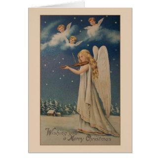 Vintage Angel Violinist Christmas Card
