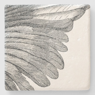 Vintage Angel Wing Grey Feathers Stone Coaster