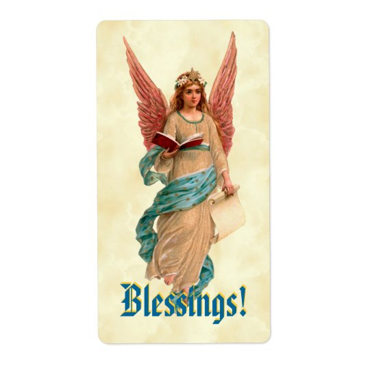 Vintage Angel with Book Pink Wings Blessings Shipping Label