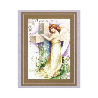 Vintage Angel With Christian Cross Canvas Print
