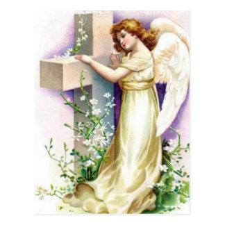 Vintage Angel With Christian Cross Postcard