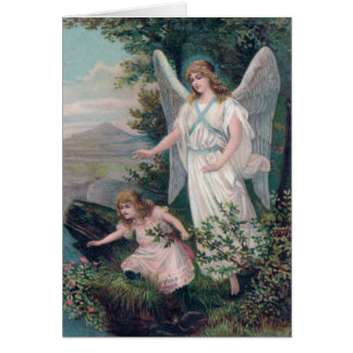 Vintage angel with girls at the abyss card