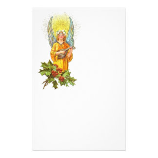 Vintage Angel With holly And Mandolin Stationery