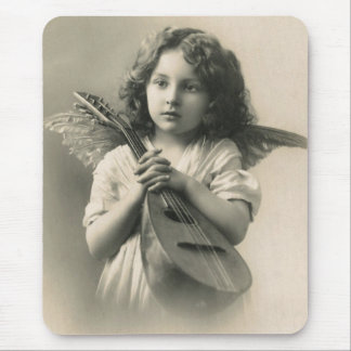 Vintage Angel with Mandolin Mouse Pad