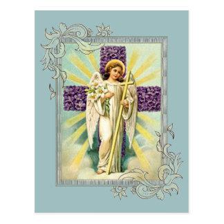 Vintage Angel With Purple Cross Postcard