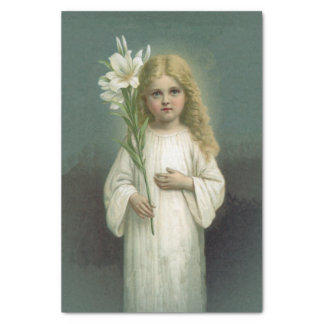 """Vintage Angelic Girl White Dress Lily Flowers 10"""" X 15"""" Tissue Paper"""