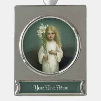 Vintage Angelic Girl White Dress Lily Flowers Silver Plated Banner Ornament