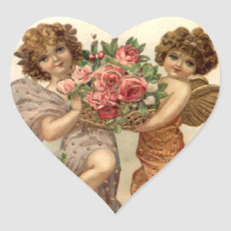 Vintage Angels and Roses Valentine Sticker