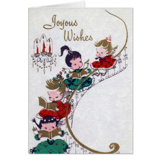 Vintage Angels Christmas retro add message card