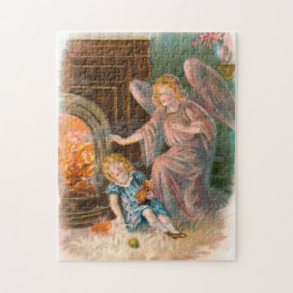 Vintage angels guardian angel girl and fire jigsaw puzzle