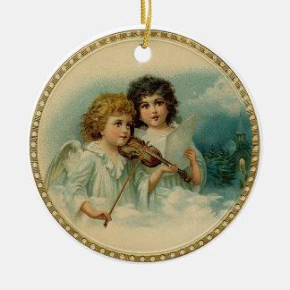Vintage Angels Round Ornament