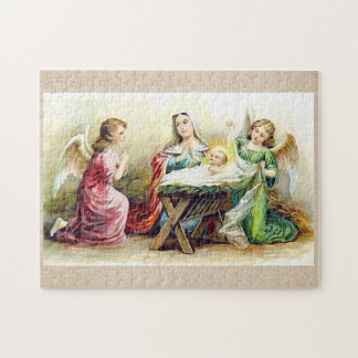 Vintage Angels Surrounding Baby Jesus and Mary Puzzle
