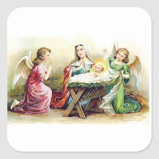 Vintage Angels Surrounding Baby Jesus and Mary Square Sticker