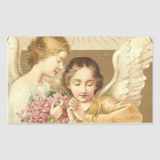 Vintage angels with flowers rectangular sticker
