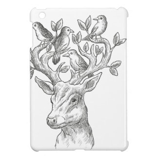 vintage animal deer with birds case for the iPad mini