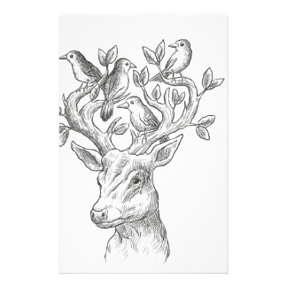 vintage animal deer with birds stationery