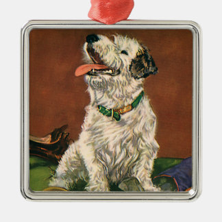 Vintage Animals Cute Terrier Puppy Chewing Shoes Christmas Tree Ornaments