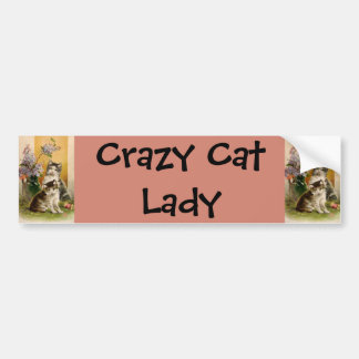 Vintage Animals, Cute Victorian Cats and Flowers Bumper Sticker