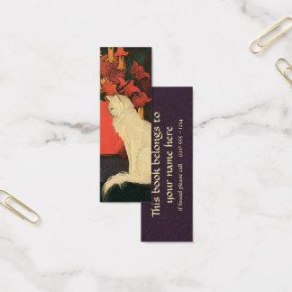 Vintage Animals, Elegant White Cat, Autumn Flowers Mini Business Card